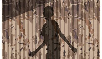 "Illustration on DOJ policy protection of child abuse by Afghan ""allies"" by Alexander Hunter/The Washington Times"