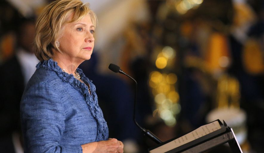 Democratic presidential candidate Hillary Rodham Clinton speaks during a campaign stop in Baton Rouge, La., on Sept. 21, 2015. (Associated Press)