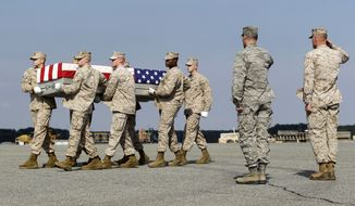 A Marine carry team moves a transfer case containing the remains of Lance Cpl. Gregory T. Buckley, 21, of Oceanside, N.Y., Monday, Aug. 13, 2012, at Dover Air Force Base, Del. (Associated Press)