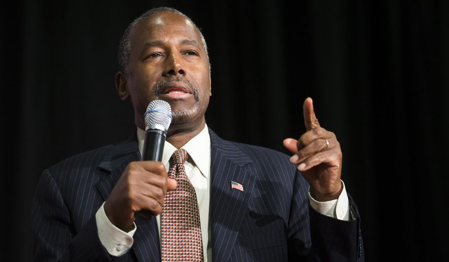 Republican presidential candidate Ben Carson speaks during a campaign rally at the Sharonville Convention Center in Cincinnati on Sept. 22, 2015. (Associated Press)