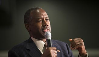 Republican presidential candidate Ben Carson speaks during a campaign rally at the Sharonville Convention Center, Tuesday, Sept. 22, 2015, in Cincinnati. (AP Photo/John Minchillo) ** FILE **