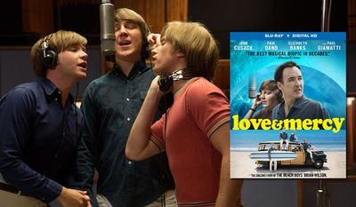 From left to right: Brett Davern (Carl Wilson, left), Paul Dano (Brian Past, center) and Kenny Wormald (Dennis Wilson, right) star in Lionsgate Home Entertainment's Love & Mercy, now available on Blu-ray.