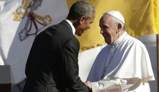 "American Catholics are ""concerned that efforts to build a just and wisely ordered society respect their deepest concerns and the right to religious liberty,"" Pope Francis told President Obama at the arrival ceremony in his honor at the White House. (Associated Press)"