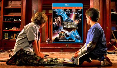 Danny (Jonah Bobo) and Walter (Josh Hutcherson) check out Zathura: 10th Anniversary Edition, now availabe in Blu-ray from Sony Pictures Home Entertainment.