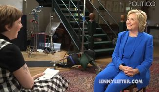 "Hillary Rodham Clinton sat down with ""Girls"" star Lena Dunham to chat about equal rights, saying one doesn't have to ""hate men"" in order to be a feminist. (LennyLetter.com via Politico)"