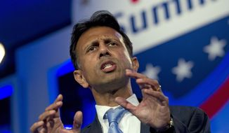 Louisiana Gov. Bobby Jindal talked about defunding Planned Parenthood in his state at the Values Voter Summit on Friday, Sept. 25, 2015. (Associated Press). ** FILE **