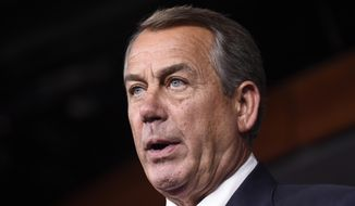 In this July 29,2015 file photo, House Speaker John Boehner of Ohio speaks during a news conference on Capitol Hill in Washington. According to GOP lawmakers, Boehner to step down end of October. (AP Photo/Susan Walsh, File)