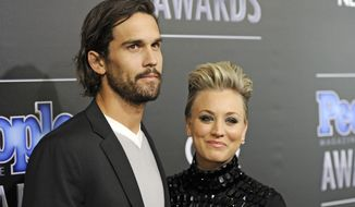 Ryan Sweeting, left, and his wife Kaley Cuoco arrive at the People Magazine Awards at the Beverly Hilton in Beverly Hills, Calif., in this Dec. 18, 2014, file photo. (Photo by Chris Pizzello/Invision/AP, File)