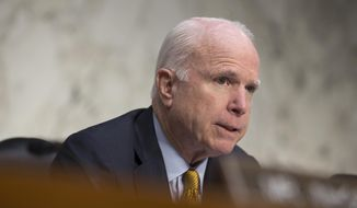 Senate Armed Services Committee Chairman John McCain, Arizona Republican, speaks on Capitol Hill in Washington, on Sept. 22, 2015. (Associated Press) **FILE**
