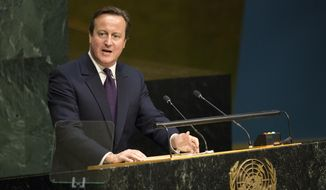 British Prime Minister David Cameron addresses the 2015 Sustainable Development Summit, Sunday, Sept. 27, 2015, at United Nations headquarters. (AP Photo/Craig Ruttle)