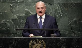 President Alexander Lukashenko, of Belarus, addresses the 2015 Sustainable Development Summit, Sunday, Sept. 27, 2015, at United Nations headquarters. (AP Photo/Richard Drew) ** FILE **