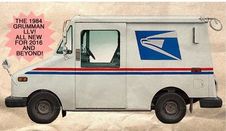 Illustration on the proposed USPS replacement fleet by Alexander Hunter/The Washington Times