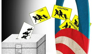 Illustration on Obama's scheme to fast track illegal immigrants into citizen and voter status by Alexander Hunter/The Washington Times
