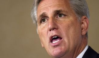House Majority Leader Kevin McCarthy, R-Calif., speaks in Washington, Monday, Sept. 28, 2015.  McCarthy announced Monday his candidacy for House Speaker, replacing the outgoing John Boehner. (AP Photo/Jacquelyn Martin)