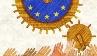 Illustration on Syrian refugees' impact on the EU economy by Alexander Hunter/The Washington Times