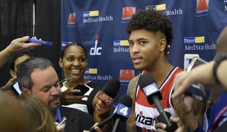 Washington Wizards' Kelly Oubre, Jr. talks to reporters during an NBA basketball media day, Monday, Sept. 28, 2015, in Washington. (AP Photo/Nick Wass)