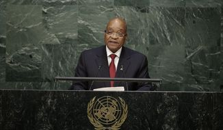 South African President Jacob Zuma speaks during the 70th session of the United Nations General Assembly at U.N. headquarters Monday, Sept. 28, 2015. (AP Photo/Frank Franklin II) ** FILE **