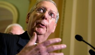 Senate Majority Leader Mitch McConnell of Kentucky speaks to reporters on Capitol Hill in Washington, Tuesday, Sept. 29, 2015. (AP Photo/Manuel Balce Ceneta)