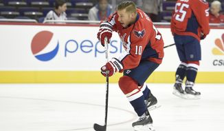 Washington Capitals center Derek Roy (10) shoots the puck during warmups before an NHL preseason hockey game against the Carolina Hurricanes, Monday, Sept. 21, 2015, in Washington. (AP Photo/Nick Wass)
