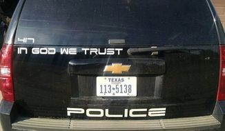 "Childress Police Chief Adrian Garcia has told an atheist organization to ""go fly a kite"" after it began targeting his department for the ""In God We Trust"" decals on patrol vehicles. (Facebook/@Childress Police Department)"