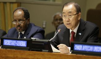 United Nations Secretary General Ban Ki-moon is joined by Somali President Hassan Sheikh Mohamoud during a high level meeting on Somalia at U.N. headquarters, Monday, Sept. 28, 2015. (AP Photo/Mary Altaffer)