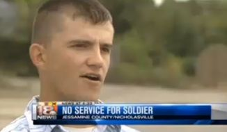 Billy Welch, a soldier with the National Guard, was told to leave his gun outside or take his business elsewhere Sunday morning at a Kentucky Waffle House. (WLEX-TV)