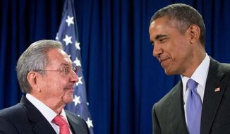 President Barack Obama talks with Cuban President Raul Castro before a bilateral meeting, Tuesday, Sept. 29, 2015, at the United Nations headquarters. (AP Photo/Andrew Harnik) **FILE**