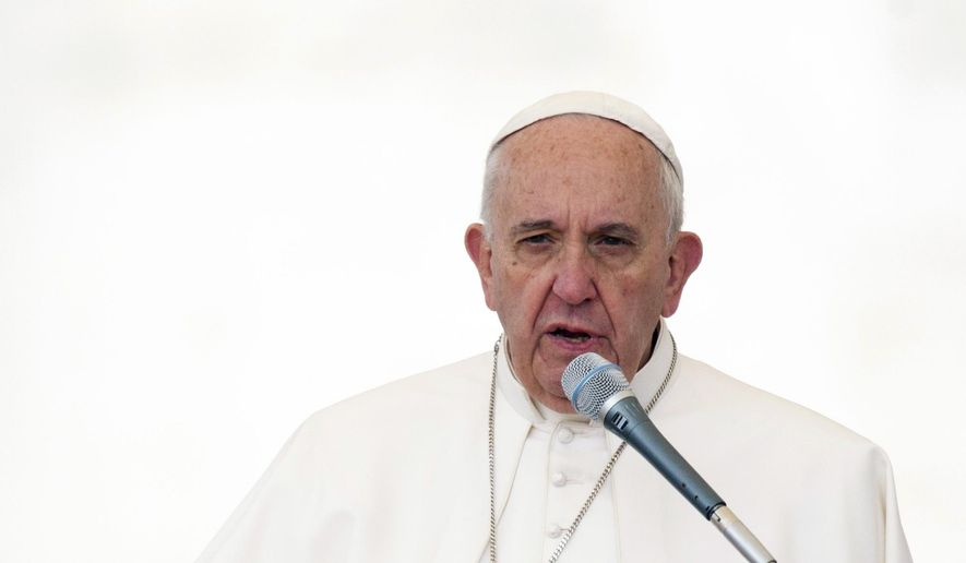 Pope Francis speaks during his weekly general audience in St. Peter's Square, at the Vatican, Wednesday, Sept. 30, 2015. (AP Photo/Riccardo De Luca)