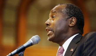 Republican presidential candidate, retired neurosurgeon Ben Carson speaks during a campaign stop at the University of New Hampshire, Wednesday, Sept. 30, 2015, in Durham, N.H. (AP Photo/Jim Cole) ** FILE **