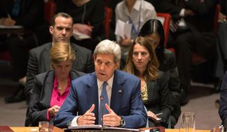 U.S. Secretary of State John Kerry attends the United Nations Security Council, Wednesday, Sept. 30, 2015, at the U.N. headquarters. During the meeting, Kerry delivered remarks encouraging the international community to end the conflict in Syria. (AP Photo/Kevin Hagen)