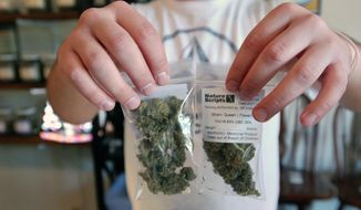 Associate Chris Hewitt holds up 7 gram bags of marijuana buds being prepared for sale at Nature Scripts medical marijuana dispensary in Murphy, Ore., Wednesday, Sept. 30, 2015. The dispensary is one of many across the state preparing for the first day of retail legal sales starting Thursday. (AP Photo/Jeff Barnard)