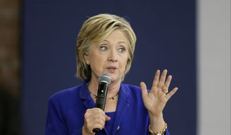 Democratic presidential candidate Hillary Rodham Clinton speaks during a community forum on health care at Moulton Elementary School in Des Moines, Iowa, on Sept. 22, 2015. (Associated Press) **FILE**
