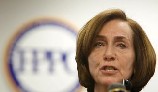 Ann Ravel, chairwoman of the California Fair Political Practices Commission, discusses the $1 million fine, the largest in its history, levied against two political action committees for campaign-reporting violations, during a news conference in Sacramento, Calif., Thursday, Oct. 24, 2013. (AP Photo/Rich Pedroncelli)