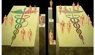 Illustration on merging health insurance providers by Alexander Hunter/The Washington Times