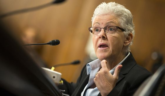 Environmental Protection Agency (EPA) Administrator Gina McCarthy testifies on Capitol  Hill in Washington, in this Sept. 16, 2015, file photo. (AP Photo/Evan Vucci, File)