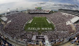 In this Saturday, Sept. 26, 2015, file photo, San Diego State kicks off to Penn State during the first half of an NCAA college football game at Beaver Stadium in State College, Pa. Penn State officials are seeking options to renovate or replace Beaver Stadium in the next 10 years. (AP Photo/Gene J. Puskar, File)