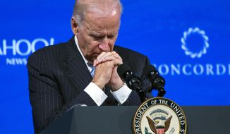Vice President Joe Biden pauses while speaking at the fifth annual Concordia Summit Thursday, Oct. 1, 2015, in New York, while briefly commenting on a deadly shooting at Umpqua Community College, in Roseburg, Ore., that happened earlier in the day. (AP Photo/Craig Ruttle) **FILE**