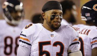 Chicago Bears linebacker Mason Foster (53) on the bench in the first half of an NFL preseason football game against the Cincinnati Bengals, Saturday, Aug. 29, 2015, in Cincinnati. (AP Photo/Michael Conroy)