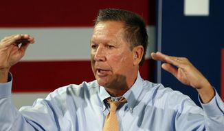 Republican presidential candidate, Ohio Gov. John Kasich speaks during a campaign stop, Friday, Oct. 2, 2015, in Goffstown, N.H. (AP Photo/Jim Cole)