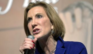 Republican presidential candidate Carly Fiorina speaks at a town hall meetingat the University of South Carolina at Aiken Convocation Center, Friday afternoon, Oct. 2, 2015, in Aiken, S.C.  (Michael Holahan/The Aiken Standard via AP)