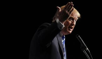 Republican presidential candidate Donald Trump speaks at an event Saturday, Oct. 3, 2015, in Franklin, Tenn. (AP Photo/Mark Zaleski)