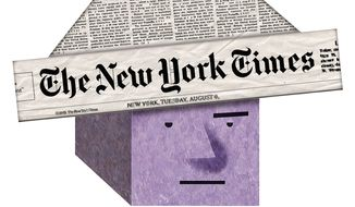 """Illustration on the """"New York state of mind"""" by Alexander Hunter/The Washington Times"""