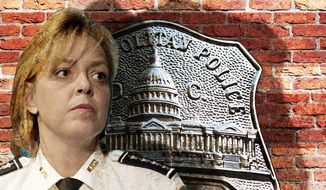 Illustration on the position of the D.C. Metropolitan police under Chief Lanier by Alexander Hunter/The Washington Times