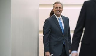 Majority Leader Rep. Kevin McCarthy, R-Calif., on Capitol Hill, on Thursday, Oct. 8, 2015, in Washington. (AP Photo/Andrew Harnik) ** FILE **