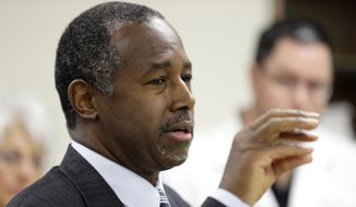 Republican presidential candidate Ben Carson speaks in Ankeny, Iowa, in this Oct. 2, 2015, file photo. (AP Photo/Charlie Neibergall, File)