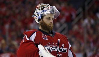 Washington Capitals goalie Braden Holtby (70) pauses during a break in the third period of Game 6 in the second round of the NHL Stanley Cup hockey playoffs against the New York Rangers, Sunday, May 10, 2015, in Washington. The Rangers won 4-3. (AP Photo/Alex Brandon)