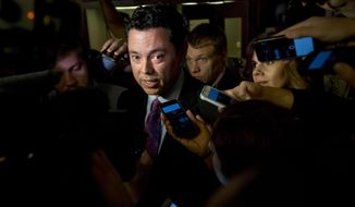 Rep. Jason Chaffetz, R-Utah answers questions from reporters on Capitol Hill in Washington. (AP Photo/Jacquelyn Martin)