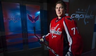 Washington Capitals right wing T.J. Oshie (77) poses for a portrait at the Verizon Center, Oct. 2, 2015, in Washington, D.C. (Preston Keres/Special to The Washington Times)
