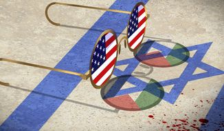 Illustration on U.S. bias against Israel by Alexander Hunter/The Washington Times