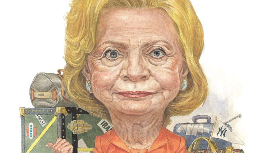 Illustration on Hillary Clinton's historical/political baggage by Alexander Hunter/The Washington Times